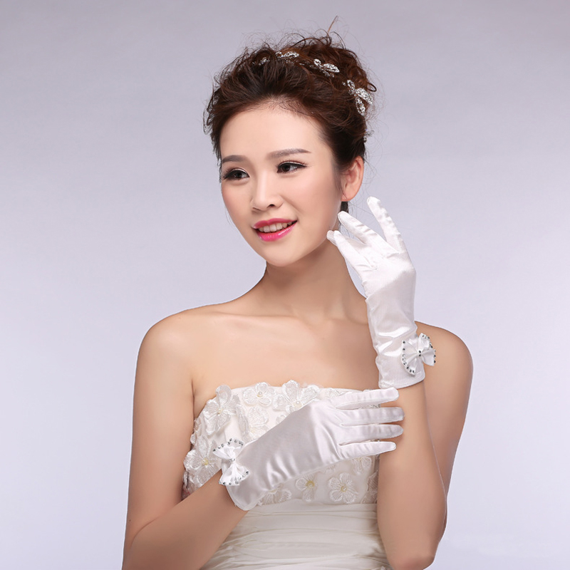 Fashion White Matte Satin Finger Short Wedding Gloves Wedding Accessories Party Casual Bride Bowknot Gloves