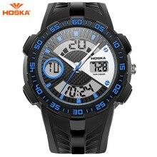 50 m Resistente Al Agua Reloj de Los Niños HOSKA Moda LED Relojes Militares Deporte Choque hombres de Cuarzo Analógico Digital Reloj del relogio masculino
