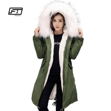 Fitaylor зимние куртки женщин тонкий утка вниз пальто большой меховой воротник теплые парки с капюшоном с мехом кролика пузыря военные зимние верхняя одежда