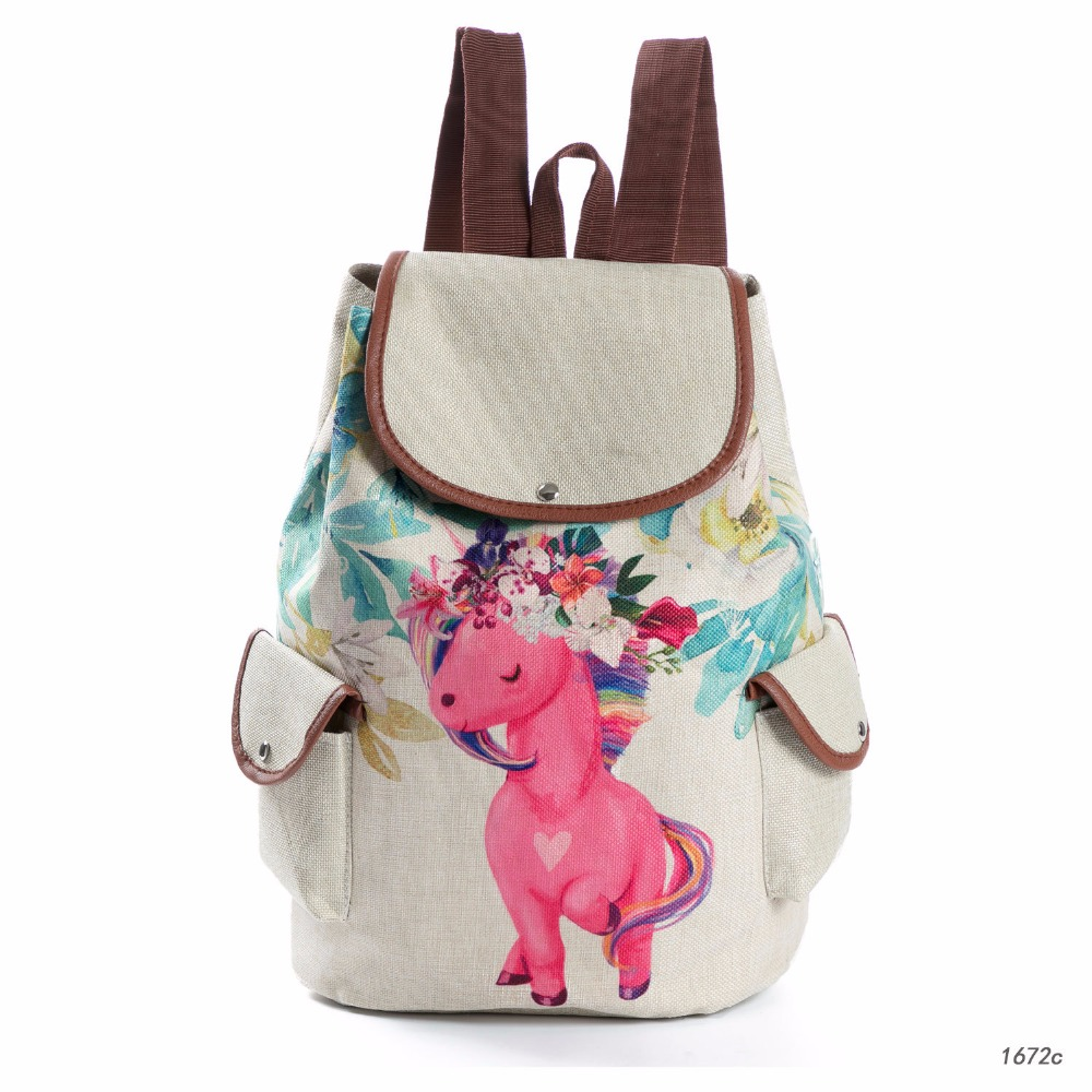 f437dc13a1a4f Fashion Cartoon Unicorn Printed Linen Backpack Female Drawstring Design School  Bags for Teenage Girls Travel Rucksack