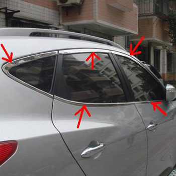 For Hyundai Tucson ix35 2010 2011 2012 Stainless Steel Whole Set Window Sills Cover Trims Car Styling Accessories 10pcs/set