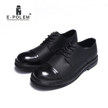 2018 Men's Leather Shoes Patchwork New Retro British Style Low Upper Shoes Stitching Big Casual Lace-Up Male Shoes