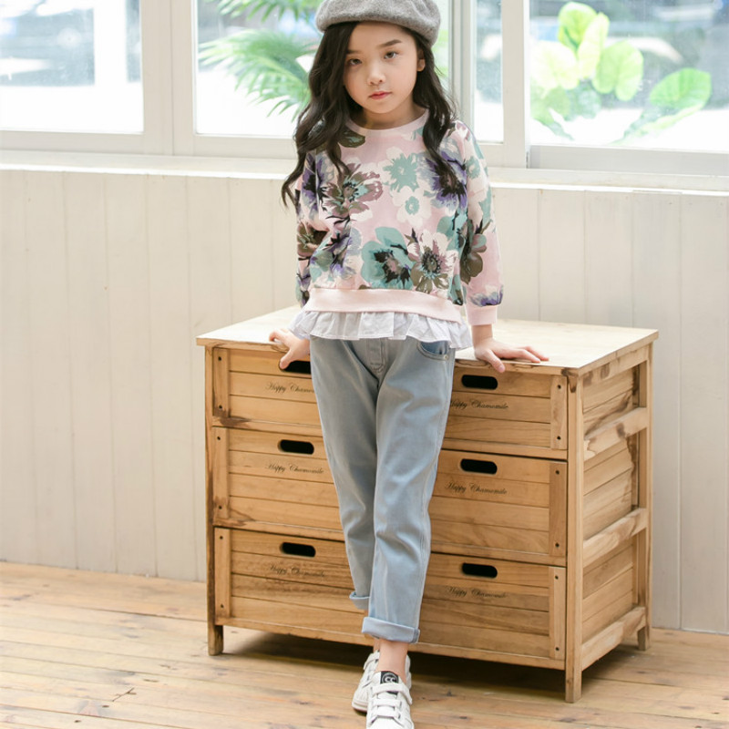 ZBAIYH Spring New Baby Girls Clothing Set Fashion Printing Flowers Sweatshirts and Casual Jeans Jeans Kids Clothes 4-12 Years