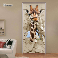 3D Door sticker Animal Giraffe DIY Decals Wall Sticker For Kids Rooms Door Decoration sticker for Home wallpaper Poster painting