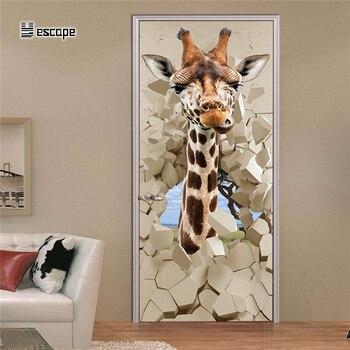 3D adesivo Porta Animale Giraffa FAI DA TE Decalcomanie Wall Sticker Per Bambini Camere Decorazione Della Porta sticker per la Casa carta da parati Poster pittura