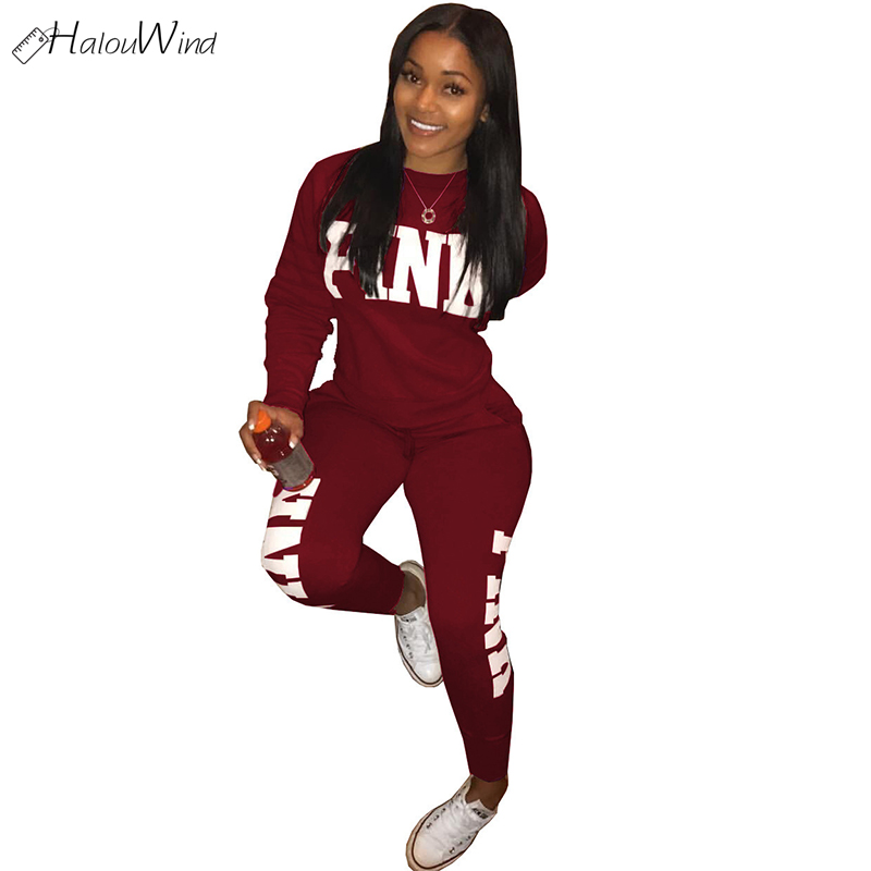 2019 Women Pink Outfit Tracksuit  Two Piece Set Conjunto Feminino Clothing Set Autumn Sportswear Casual Sweatshirt Top + Pants