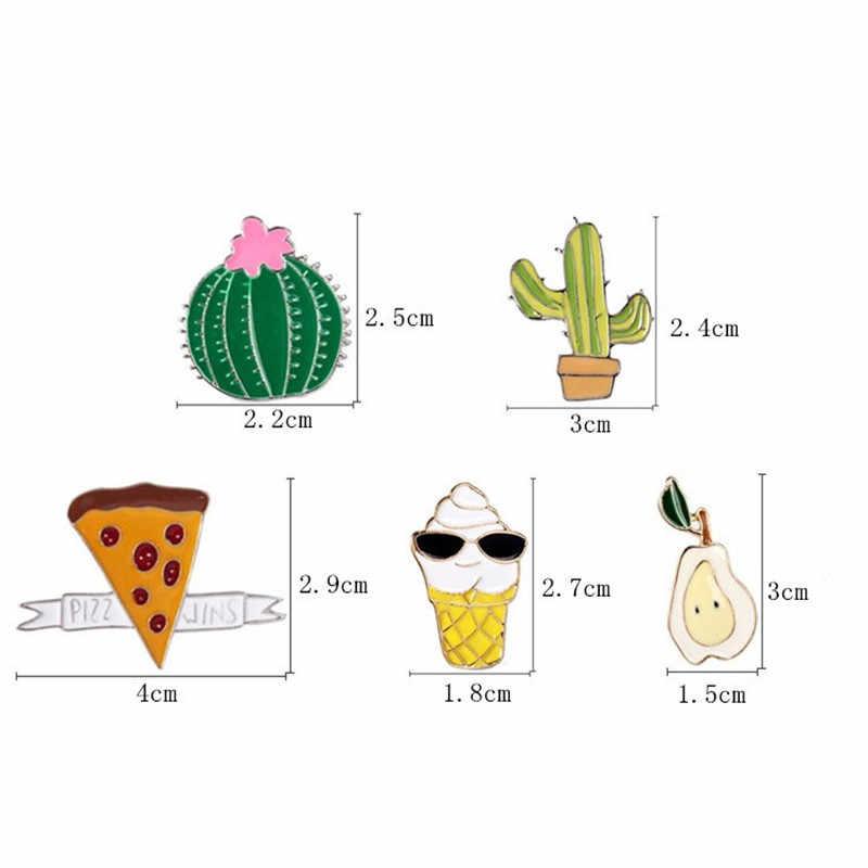 1 Pc Lucu Buah Kaktus bros Wanita Aksesoris Colorful Alloy Lencana Kemeja Kerah Pin Perhiasan Bros untuk Wanita Jilbab 2018