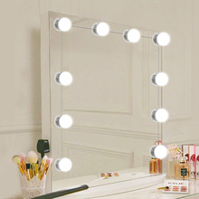 Makeup Mirror Dressing LED Light 10 Pcs DC12V EU US Plug Bulb Dimmable Touch Control Hollywood DIY Lamp Cool White Dress Lights