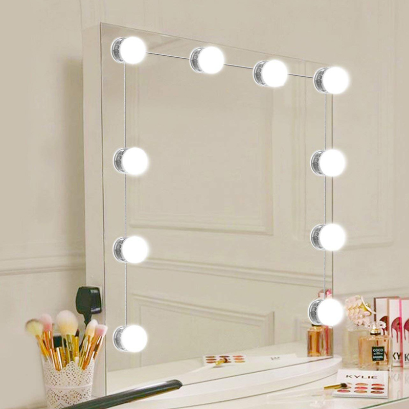 Makeup Mirror Dressing LED Light 10 Pcs DC12V EU US Plug Bulb Dimmable Touch Control <font><b>Hollywood</b></font> DIY Lamp Cool White Dress Lights image