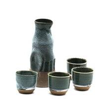 1 Willen Topf + 4 Sake Cup Handgemalte Keramik Keramik porzellan Willen Set Für Janpanese Grün Glasierte Naive Handgemachte Willen Set