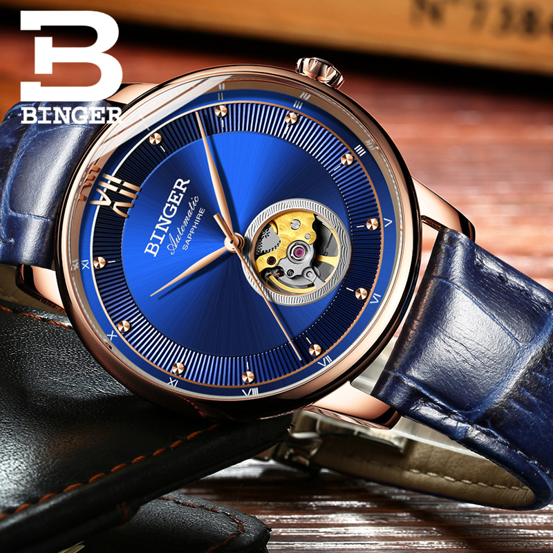 Ultra-thin Japan 9015 Automatic Movement Men Business Mechanical Watches sapphire Rose Gold Case Blue Dial Fashion Wristwatch jam tangan pria gold original
