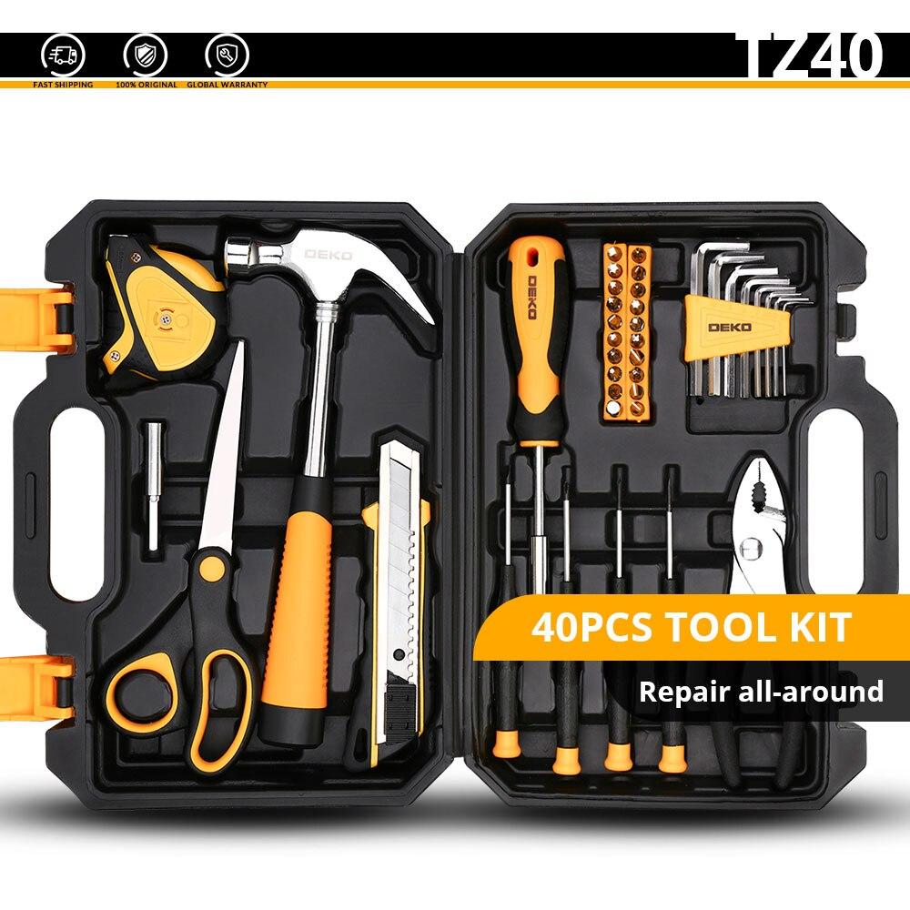 DEKO набор ручных инструментов для домашнего ремонта, набор ручных инструментов с пластиковым ящиком для инструментов, чехол для хранения плоскогубцев, торцевой ключ, пила, отвертка, нож - Цвет: TZ40
