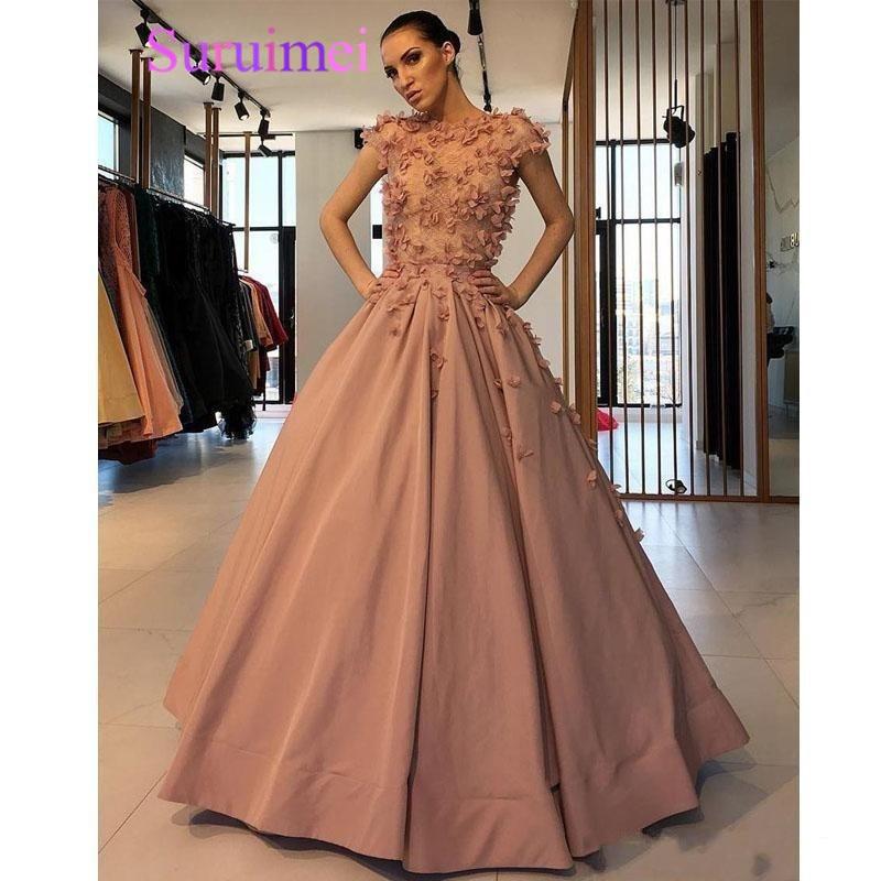 Designer Prom Dresses: Designer Plus Size Prom Dresses 2019 Short Sleeve Flower