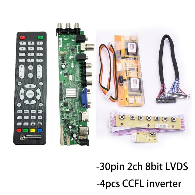 "D3663lua a81 dvb t2 DVB C dvb t/T2 ユニバーサル液晶ledテレビコントローラドライバボードフルキットのための 17 ""19"" 21.5 ""画面"
