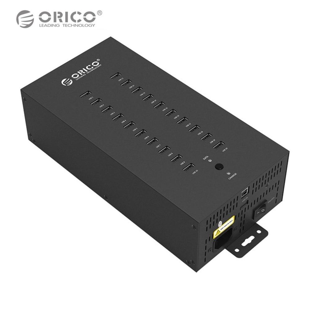 ORICO IH20P-BK USB HUB 20 USB Ports Industrielle USB2.0 HUB Adaptateur Portable USB Splitter Transmission de Données USB Chargeur