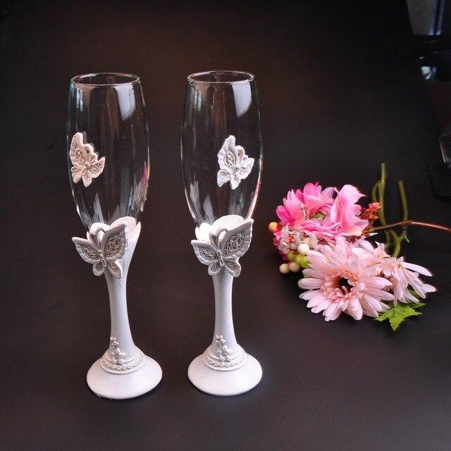 2pcs Lot Beautiful Butterfly Wedding Champagne Glass Decor Red Wine