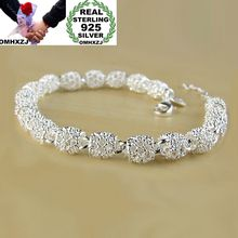 OMHXZJ Wholesale Personality Fashion OL Woman Girl Party Gift Silver Hollow Long Beads Chain 925 Sterling Silver Bracelet BR30 цена