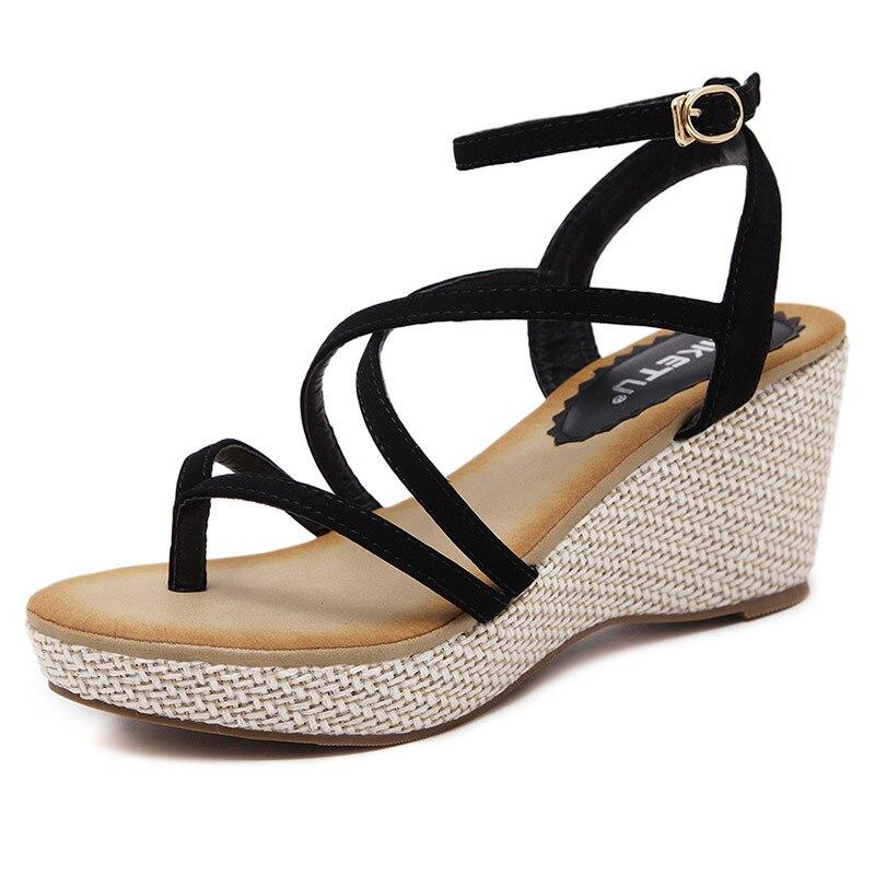 Women Sandals 2019 Summer Cross Tied Ladies Shoes Wedges Sandals Platform Shoes High Heels Sandals Women Gladiator Sandals