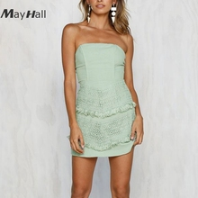 Mayhall Lace Bow Backless Women 2018 Summer Dress  Solid Strapless Dresses Off The Shoulder Vestidos Tenue Clubwear Sexy MH046