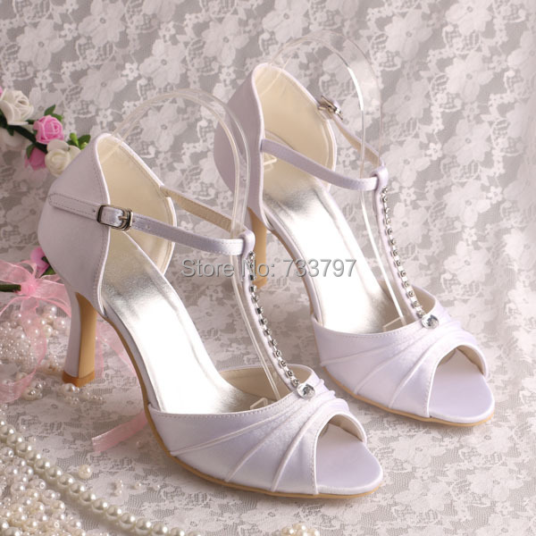 ФОТО Wedopus Custom Handmade Women Sandals Rhinestone T-strap Sandals for Wedding Party High Heel