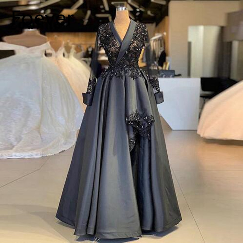 Robe De soirée arabe en dentelle noire col en V appliques robes De soirée formelles Robe De soirée 2019 offre spéciale Beadeds caftans robes De bal