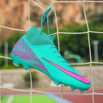 Chaussures de Football professionnel AG chaussette bottes de Football enfants bottes de Football amortissement anti-dérapant pour hommes vert bleu hommes bottes de Football