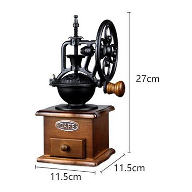 Retro Classic Wheel Coffee Manual Grinder Grinding Fast Log Labor Saving Hand-washing Mat Grinder Copper Wood Ceramic Core 5