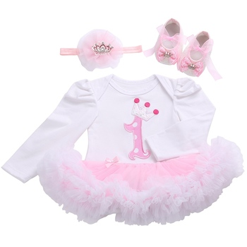 First Birthday Girl Tutu Set Newborn Clothing Ruffle Baby Clothes Baby Girl Christening Gowns Party Dress Headband Shoes Set