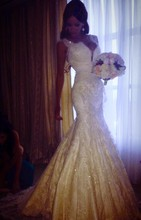 2019 Real Sample Custom Made Sexy With Cap Sleeves Lace Pearls Beads Mermaid Charming Wedding Dresses Bridal Gowns Satin VC-72