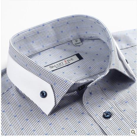 Hommes argent Dot Clothin De Col Masculina Chemises Carreaux Double Ciel Robe D'impression 100 Boucle Marque Pu Camisa Importés Coton Casual À 5Sxqw0R
