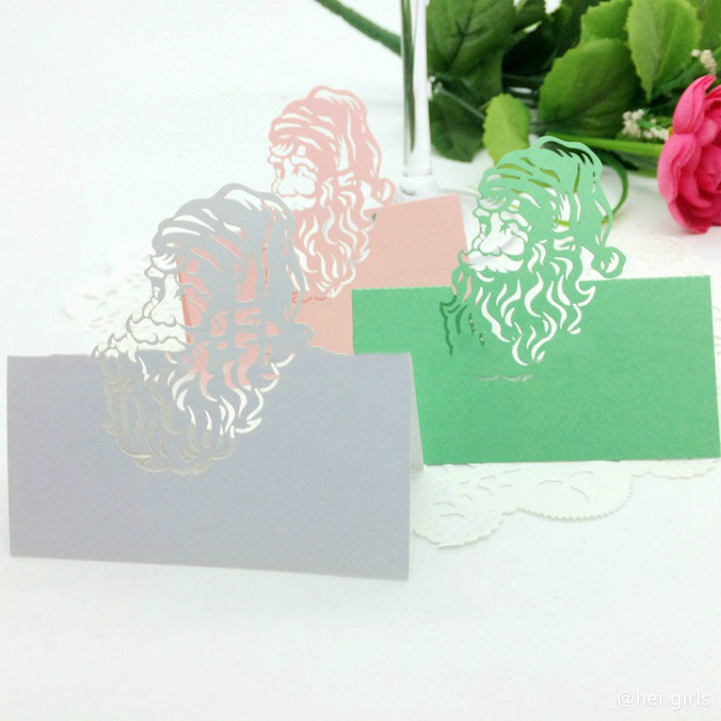 100pcs/lot Hollow Laser Christmas Stanta Claus Table Name Card Wedding Invitations For Business/Party/Birthday Decoration 6D