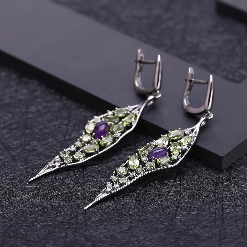 GEM'S BALLET 925 Sterling Sliver Vintage Palace Drop Earrings Natural Amethyst Peridot Gemstone Long Earrings For Women Jewelry