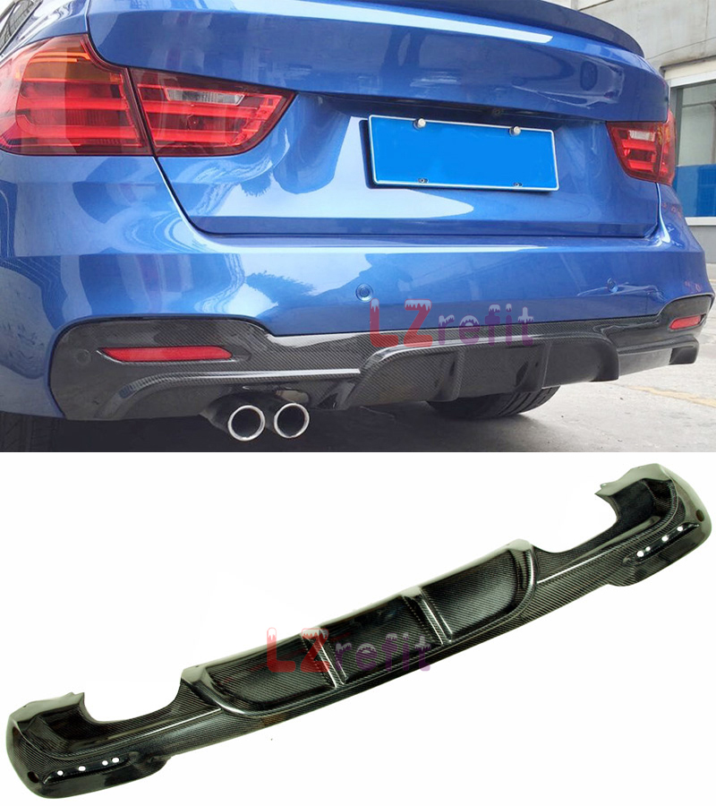 Real Carbon Fiber F34 GT P Style Rear Diffuser For BMW 3-Series GT M Tech M Sport Bumper 2013UP