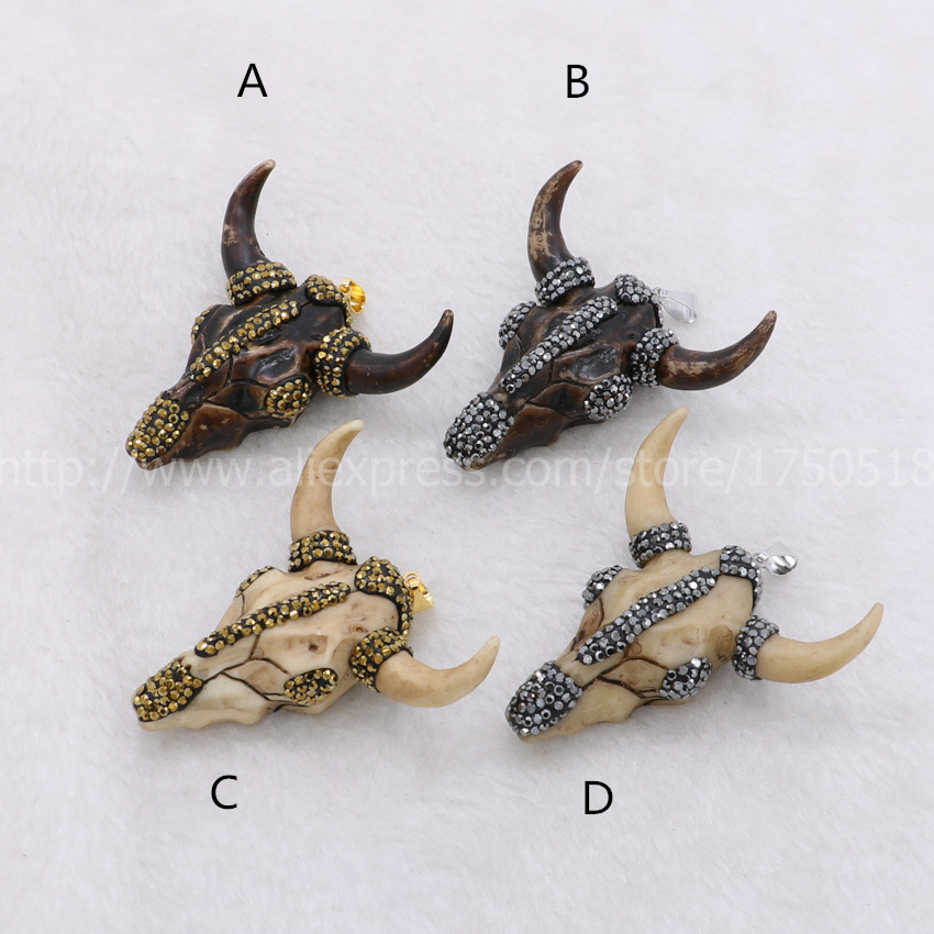 Fashion buffalo Head pendant , Bull Cattle <font><b>Charm</b></font> Bead <font><b>Longhorn</b></font> Resin Horn Cattle Pendant for Jewelry Accessories mix color 893 image
