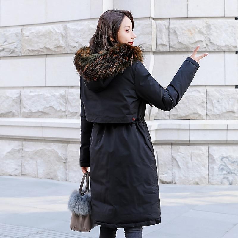 Portent Veste Colour Épaissie Noir Mode Côtés Nouvelle Femmes gris caramel Coton Survêtement Manteau Parka Manteaux Vêtements Hiver Impression Étudiant Deux De q0WOp4SfO