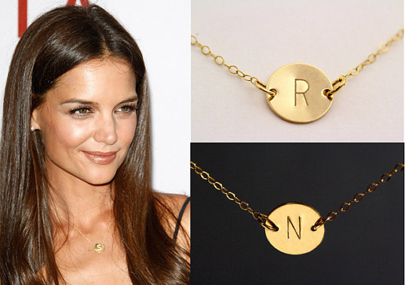 sale 10  charm necklace personalized gold disc necklace initial monogram bridesmaids gift