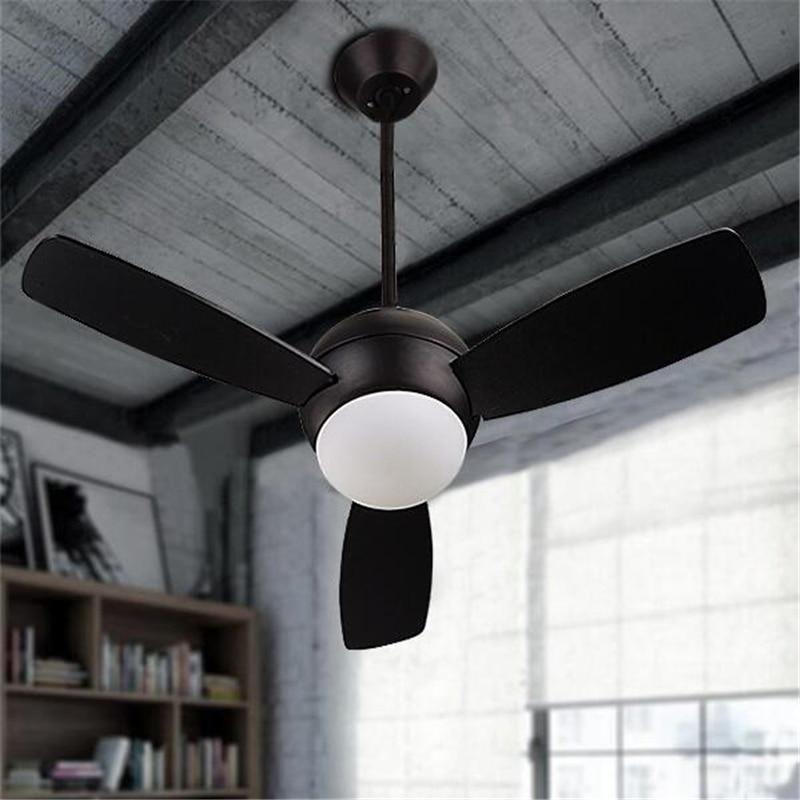 36 /42 Inch Loft Industrial Style Restaurant LED Ceiling Fan Lamp Concise Living Room Fan Light Art Parlor Bar Light