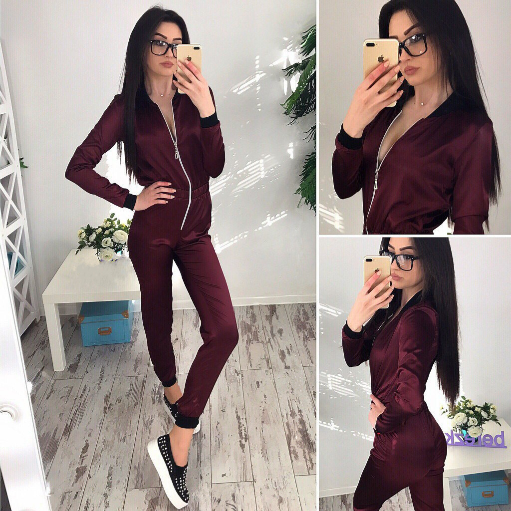 2018 Plus Size Front Zipper Long Sleeve Satin Silky umpsuits Women Fashion Outfit Silk Romper Overalls Purple Green Red Jumpsuit
