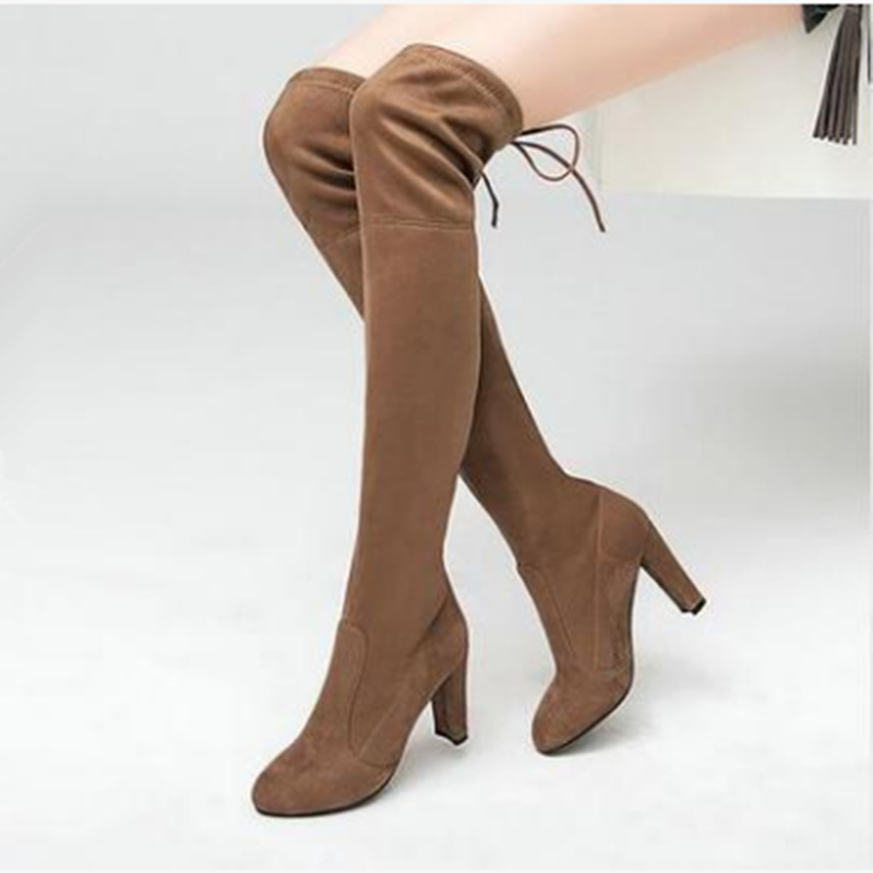 Hemmyi 2017 Faux Suede Slim Boots Sexy Over The Knee High Women Snow Boots Women s