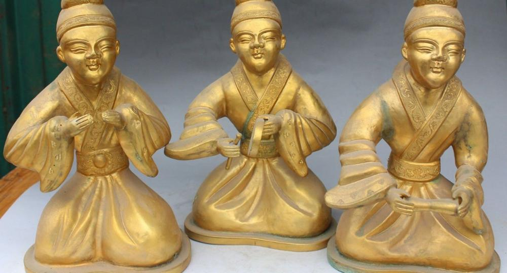 11 Chinese Folk Brons Gild Seat Belle Beauty Muziekinstrumenten Qin Standbeeld Set - 4