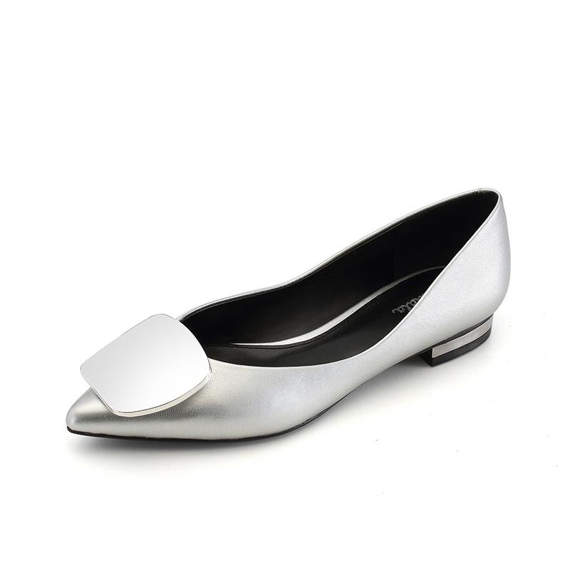 Pointed Silver Flat Sole Square Buckle Low Heel Women Shoes Metal buckle Smart dazzling Zapatillas Mujer Ladies Shoes casual