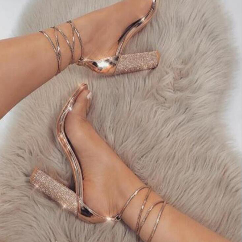 Women <font><b>Sandals</b></font> <font><b>2018</b></font> fashion Ankle Strap <font><b>Sexy</b></font> High Heels <font><b>Sandals</b></font> Crystal transparent Women <font><b>sandals</b></font> size 34 - 43 image