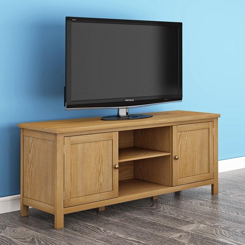 2018 New Product Oak TV Unit Solid Wood TV Stand/TV Stand Unit Shelf Cabinet 2 Door Light Oak HOT SALE new tv engf9304gf engf9304
