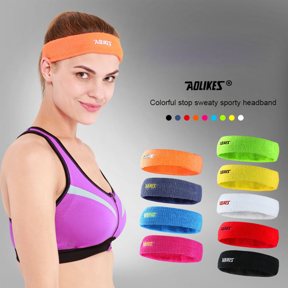 цена на AOLIKES Towel Absorbent Sport Sweat Headband Sweatband For Men and women Yoga Hair Bands Head Sweat Bands Sports Safety