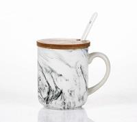 Natural Stone White Marble Texture Ceramic Coffee Mugs Milk Mug With Handgrip Lid 300ml 400ml