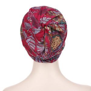 Image 3 - Fashion Muslim Women Print Cotton Hat Beanies Hijab Hair Loss Chemo Headscarf Wraps Visor Thick Cap Berets Turban Headwear