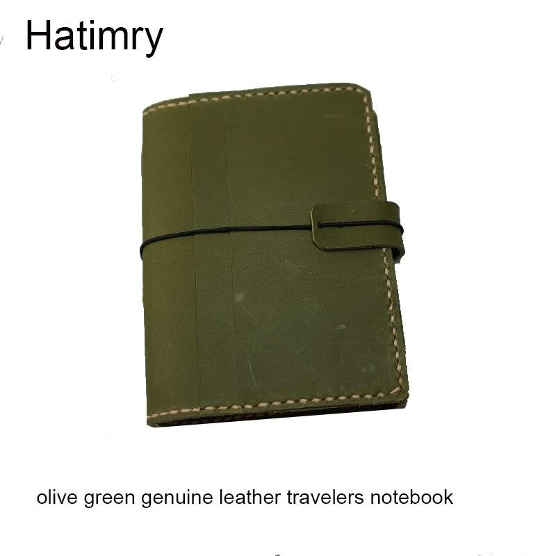Hatimry carnet de voyage en cuir véritable carnet de notes caderno escolar point de défense vert Olive carnet de croquis carnet de notes