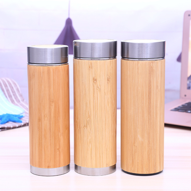Bamboo Cup Stainless Steel Water Bottle Vacuum Insulated Coffee Travel Vacuum Cup With Tea Infuser Strainer