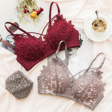 SP&CITY Luxury 3D Embroidered Floral Sexy Push Up Bras Women Wire Free Soft Thin Lace Bra Briefs Sets Hollow Out Female Lingerie