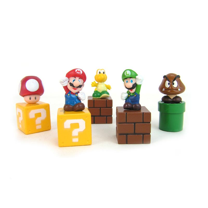 Super Mario Bros 5kpl / setti Mini Bundle Blocks Mario Goomba Luigi Koopa Troopa Mushroom PVC-lelut Ilmainen toimitus